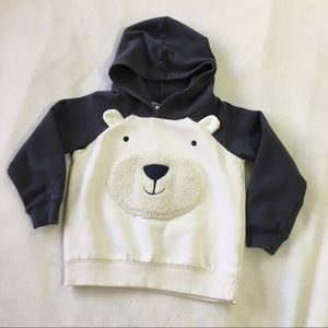 Carter's 5T blue polar bear hooded sweatshirt